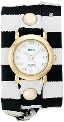 La Mer Women's LMSTW4002 Gold-Tone Watch with Striped Leather Band