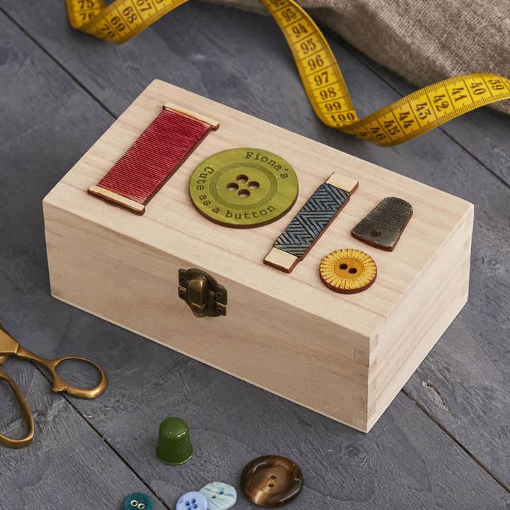 Bombus Personalised Sewing Storage Box Rectangular For Her