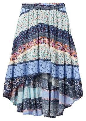 Vintage Havana Floral Hi-Lo Ruffle Maxi Skirt (Big Girls)