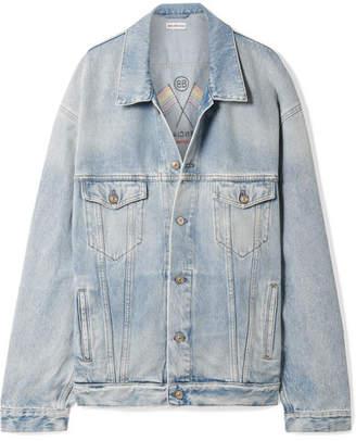 Balenciaga Oversized Embroidered Denim Jacket - Blue