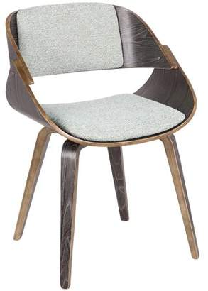 Lumisource Fortunato Mid-Century Modern Dining/Accent Chair in Dark Grey with Green Fabric