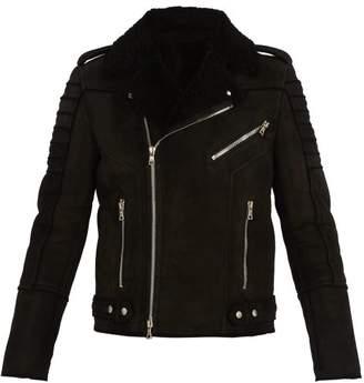 Balmain Shearling And Suede Biker Jacket - Mens - Black