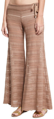 Letarte Crochet Lace Flare Beach Pants, Brown $238 thestylecure.com