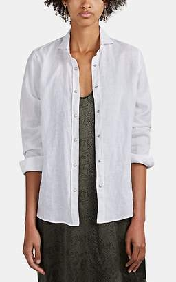 Barneys New York Women's Slub Linen Snap-Front Shirt - White