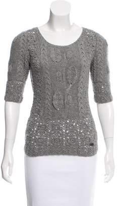 Oscar de la Renta Open Knit Cashmere Sweater