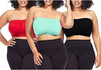 c5e79394a4 Dinamit Jeans Dinamit Fashion 3-Pack Plus Size Seamless Strapless Bandeau  Tube Top Bra -