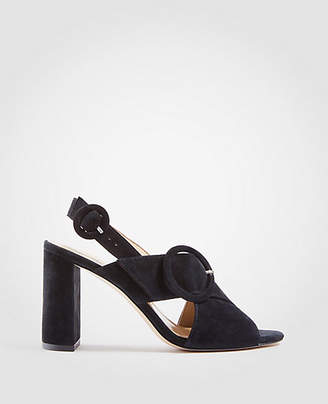 Ann Taylor Magda Suede Buckle Block Heel Sandals