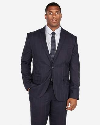 Express Slim Navy Plaid Luxury 100% Wool Suit Jacket