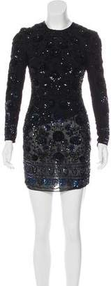Needle & Thread Beaded Long Sleeve Mini Dress
