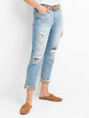 Gap Mid Rise Best Girlfriend Jeans with Destructed Repair