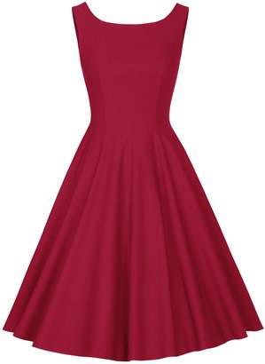 MUXXN Women's Plus Size Sleeveless Flattering Office Tea Dress ( XXL)