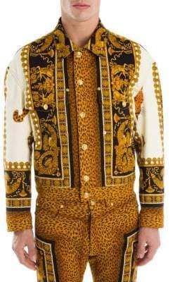 Versace Leopard Graphic Baroque Denim Jacket
