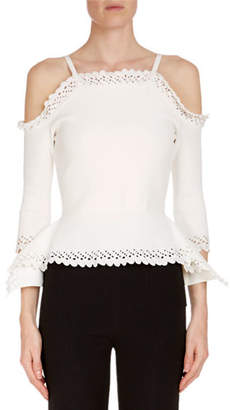 Roland Mouret Asenby Cold-Shoulder Long-Sleeve Fitted Knit Top with Lace Trim