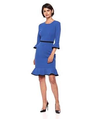 Donna Morgan Women's 3/4 Sleeve Shift with Contrast Piping