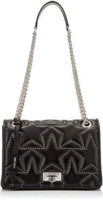 da58587163a7 Jimmy Choo HELIA SHOULDER BAG Black Nappa Shoulder Bag with Studs and  Silver Chain Strap