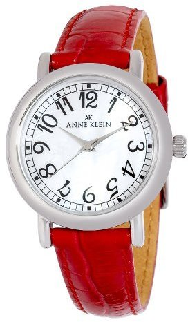 AK Anne Klein Women's 109187MPRD Silver-Tone Easy To Read Red Leather Watch