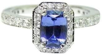 14K White Gold Radiant Cut Blue Ceylon Sapphire Diamond Engagement Ring