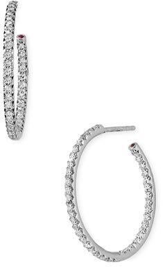 Roberto Coin Medium Diamond Hoop Earrings