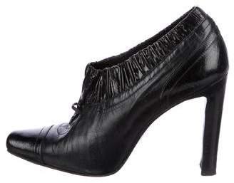 Manolo Blahnik Leather Square-Toe Booties