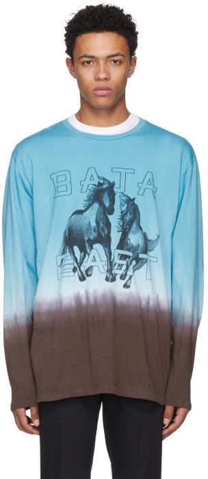 Baja East Blue Long Sleeve Freedom T-Shirt