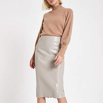 River Island Grey vinyl split hem pencil skirt