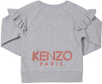 Kenzo Ruffled Logo Printed Cotton Sweatshirt
