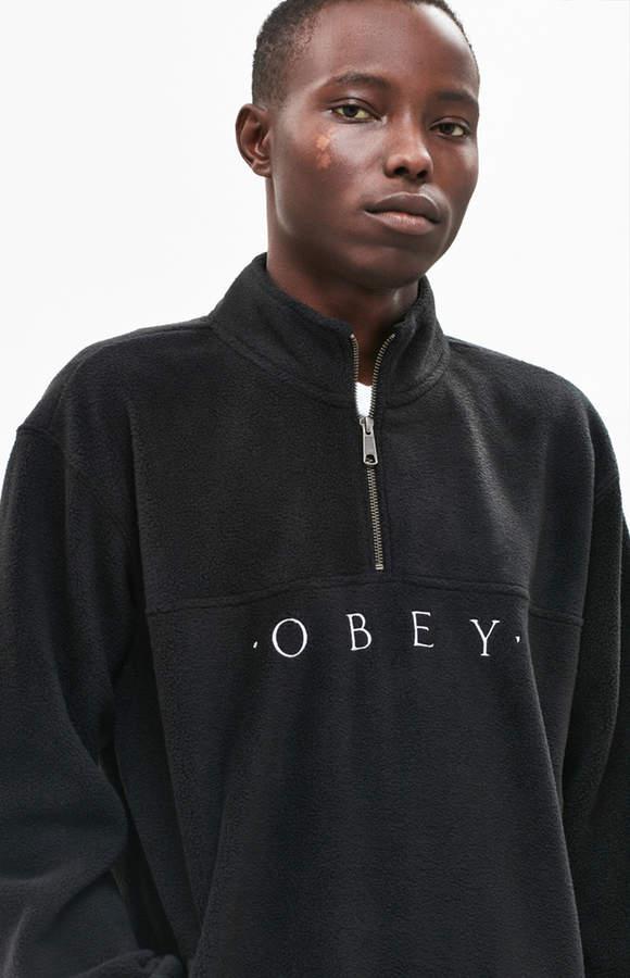 Obey Mountain Mock Zip Polar Fleece Pullover