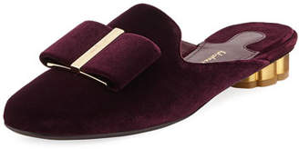 Salvatore Ferragamo Velvet Bow Mule Slide Loafer