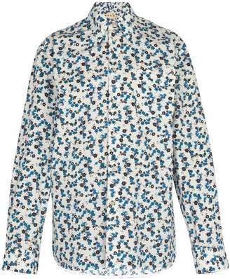 Marni Floral Print Cotton Shirt - Mens - Light Blue