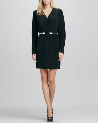 Neiman Marcus Cusp by Long-Sleeve Cross-Front Belted Dress