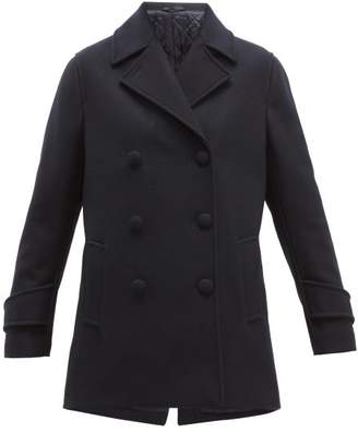 Officine Generale Eline Double Breasted Wool Blend Pea Coat - Womens - Navy