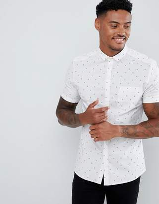 Asos Design DESIGN smart skinny work shirt with ditsy boat print boat print and mini collar and pocket
