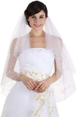 Venus Jewelry 2T 2 Tier 8 x Beaded Motifs Pencil Edge Bridal Wedding Veil - Color V48