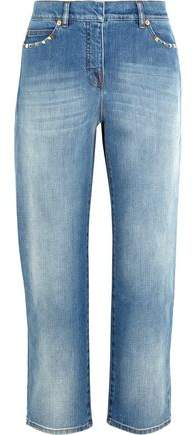Studded Cropped Mid-Rise Boyfriend Jeans