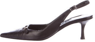 Christian Dior  Christian Dior Leather Slingback Pumps