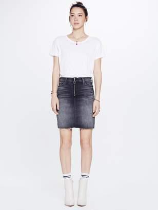Mother The Swooner Exposed Zip Mini Skirt Fray - Leave The Light On