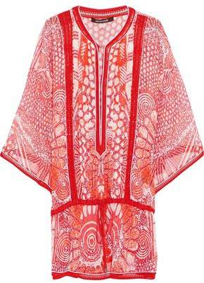 Roberto Cavalli Crochet-Trimmed Printed Silk Blouse