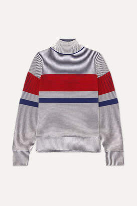 Nagnata Striped Ribbed Organic Cotton Turtleneck Sweater - Gray