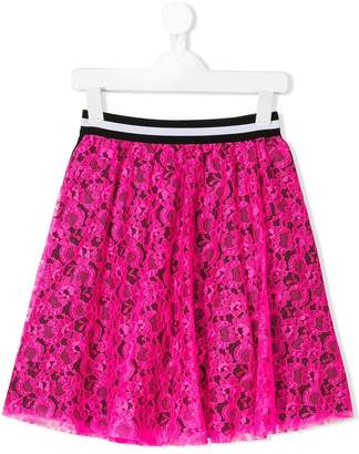MSGM Kids logo trim lace skirt