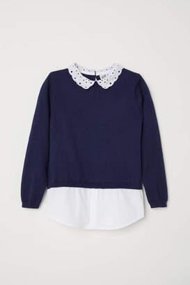 H&M Sweater with Collar - Dark blue - Kids