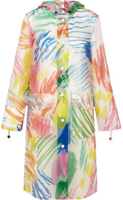 Mira Mikati Scribble Hooded Printed Rubber Raincoat - Blue