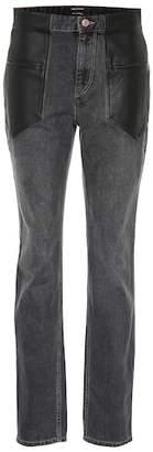 Isabel Marant Novera leather-trimmed jeans