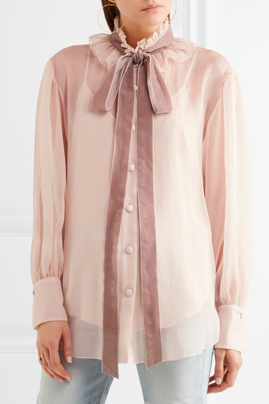 See by Chloé - Velvet-trimmed Pussy-bow Ruffled Crepon Blouse - Blush 5