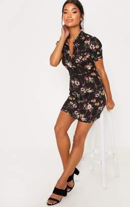 PrettyLittleThing Black Floral Print Button Detail Tea Dress