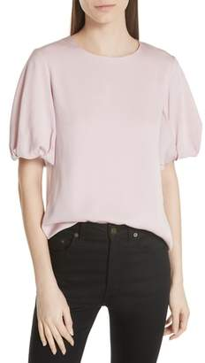 Milly Melinda Stretch Silk Puff Sleeve Top