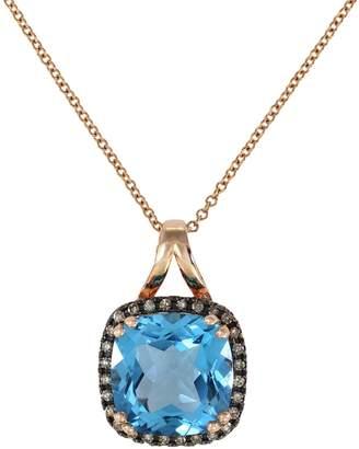 Effy 14K Rose Gold, Blue Topaz, 0.11 CT. T.W. Espresso Diamond Pendant