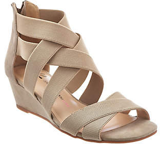 Isaac Mizrahi Live! Stretch Crossover Low WedgeSandals