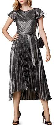Karen Millen Metallic Striped Pleated Dress