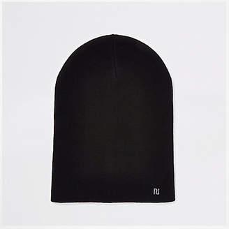 River Island Black slouch beanie RI hat