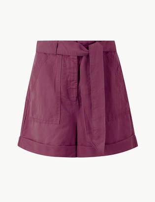 Marks and Spencer Linen Blend Belted Shorts